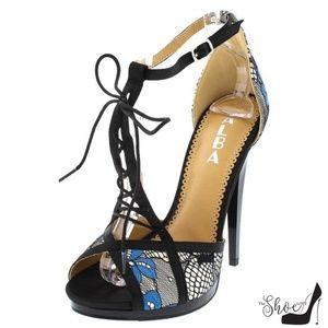Riley Black & Blue  Lace T-Strap Open Toe Heels